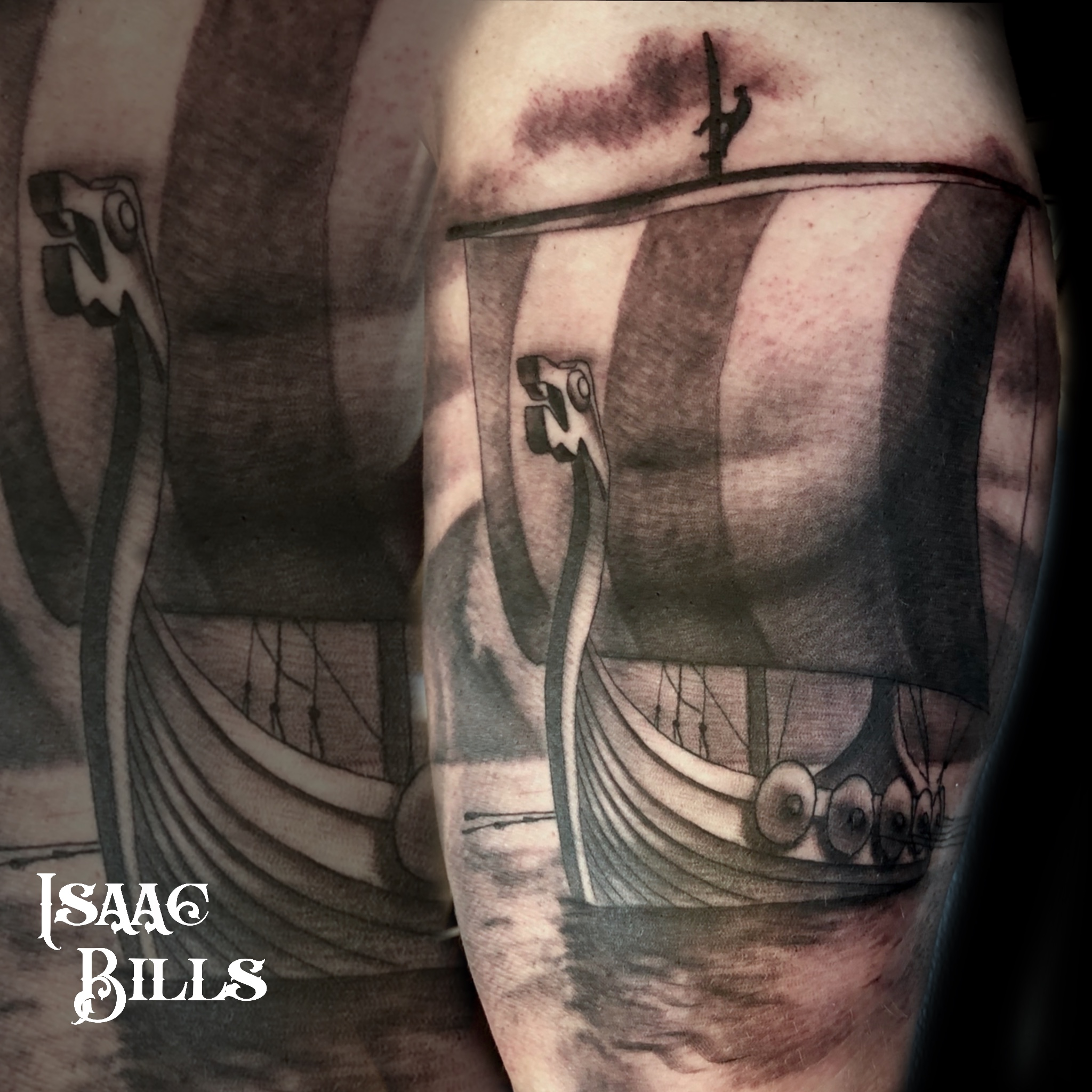 Jared Burnett's Nordic ship from Isaac Bills at H&H Tattoo