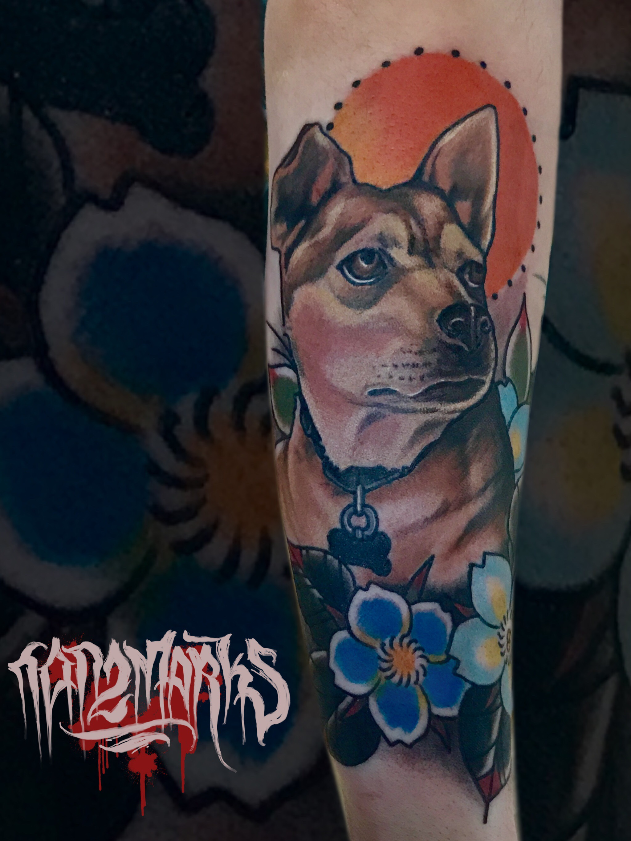 dog%20animal%20traditional%20neotraditional%20portrait%20puppy - Neo Traditional Tattoo Dog